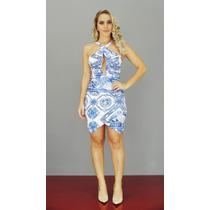 Vestido Lança Perfume Frente Única Estampa Azul Oi17