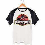 Camiseta Raglan Jurassic Park Parque Dos Dinossauros Filme