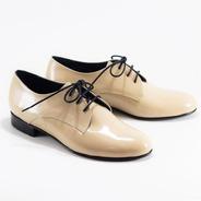 Zapato Acordonado De Charol Genuino - Bygint: Prusia Beige