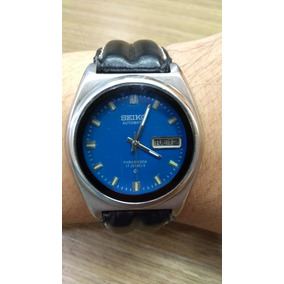 Antigo Relógio Seiko 5 Automático Masculino Fundo Azul