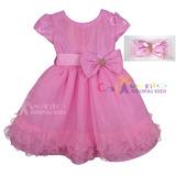 Vestido Infantil Luxo Minnie Rosa E Backardigans Com Faixa
