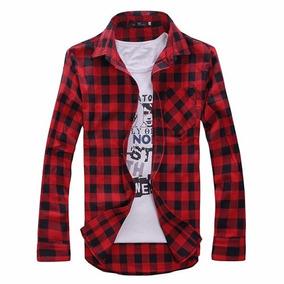 Camisa Xadrez Slim Masculina Algodão Vermelha Frete Grátis