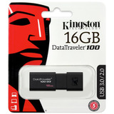 Pendrive Kingston 16 Gb 3.0 Dt100g3/16gb Negro