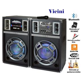 Caixa Som Dupla Acústica Usb Bluetooth Microfone Mp3 Vc 7500