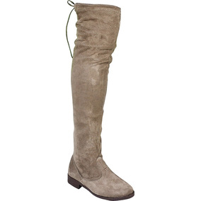 Botas Feminina Over The Knee Camurca Stretch Acima Do Joelho