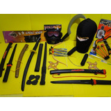 Super Kit Ninja Touca Nunchaku Samurai Kitana Estrela Arco