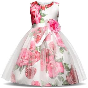 Hermoso Vestido Primavera Niña Elegante Fiesta Moda Flores