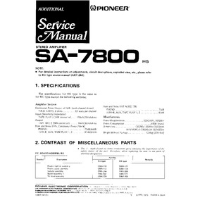 Pioneer Sa-7800 Sa-8800 Sa-9800 Libro De Servicio Tecnico