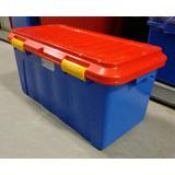 Baul Organizador Juguetes Azul Plástico 90 Lts Con Ruedas