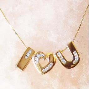 3 Pendientes Frase I Love You En Oro Solido 10k Y Diamantes