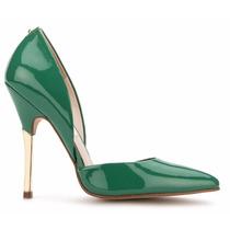 Zapatillas Zapatos Verdes De Charol Andrea Tacón Bajito