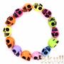 Pulseira Bracelete Feminina Rock Caveira Colorida