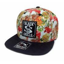 Boné Aba Reta Caveira Floral Black Bulls Original Top K-89