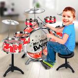 Batería Instrumento Musical Con Taburete Platillos Para Niño