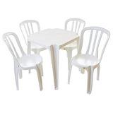 Lote 10 Jogos De Mesas C/40 Cadeiras Sup182kg Brancas Plást