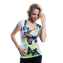 Camiseta Feminina Importada Eua - Borboletas Ref. 1506