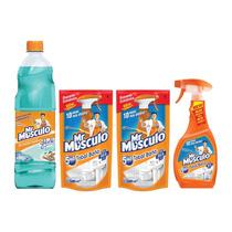 Mr Musculo Limpiapisos Glade + Gatillo Baño + Repuestos X2