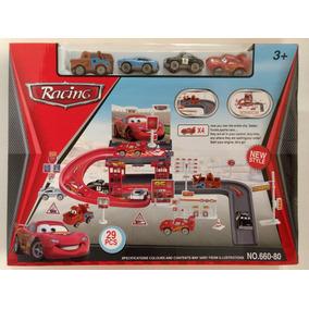 Pista Garagem Cars Disney Relampago Mc Queen 29 Pçs 4 Carros