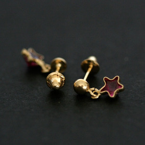 35081 - Brinco De Ouro 18k Estrela Com Pedra De Zirconia Ve
