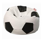Sillon Puff Soccer Grande Blanco Con Negro 1 Mt De Diametro