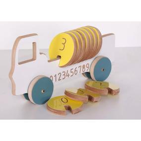 Brinquedo Educativo Caminhão Tora Madeira Colorido Mdf Me...