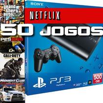 Ps3 Superslim Hd 500gb Novo +50 Jogos Originais + Cabo Hdmi