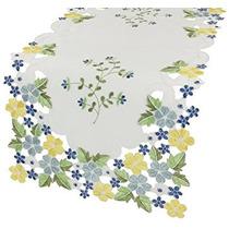 Xia Home Fashions Fantasía Flores Bordadas Cutwork Primaver