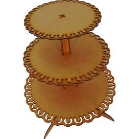 2 Porta Cup Cakes Torres Em Mdf Crú De 3mm Festa