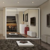 Guarda-roupa Casal Com Espelho 3 Portas Flórida Siena