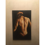 Cuadro Hombre Desnudo 50x80 Oleo Hiperrealismo Lienzo