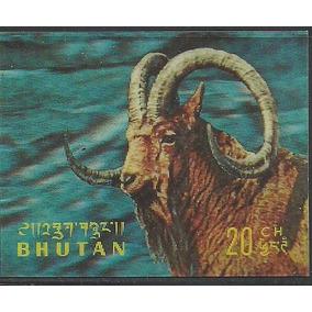 1970 Bhutan El Íbice Siberiano Cabra De La Montaña Mnh 3d