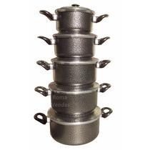 Jogo De Panelas 5 Peças Alumínio Craqueado Preto Luxo