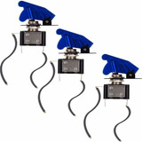 3 Chaves Botão Caça Com Led Azul Painel Som Turbo Luz Painel
