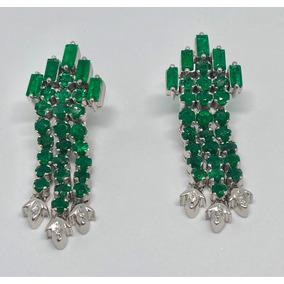 Brinco Cravejado De Diamantes E Esmeraldas Colombiana Lindo