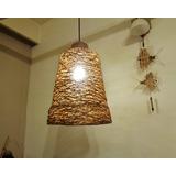 Lámpara De Hilo De Diseño En Yute Y Madera 34cm X 24cm