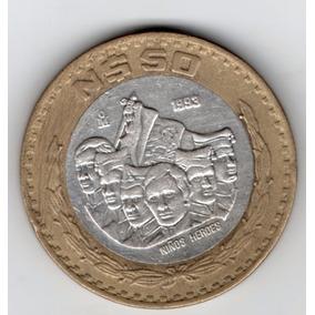 Moneda Plata 925 50 Nuevos Pesos 1993 Niños Heroes P98