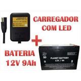 Kit Bateria 12v9ah + Carregador 12v C/ Led -moto Bandeirante