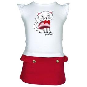 Conjunto Blusa Branca E Short Saia Vermelha - Kiko E Kika