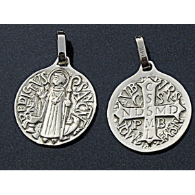 Cadena Y Medalla San Benito Diseño Antiguo En Plata .925