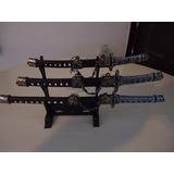 Kit Mini Katana Com 3 Espadas Enfeite Com Suporte Samurai