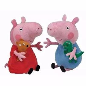 Kit 2 Bonecos Pelúcias , Peppa Pig E Jorge Musical