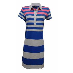 Vestido De Malha 100% Algodão Cinza Claro Azul E Rosa Cod11