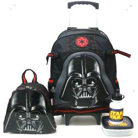 Mochila Star Wars Darth Vader 16y01 Rodinhas G + Lancheira