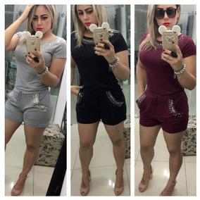 Conjunto Croppd Shorts Pedraria E Cristal Ref. 15280