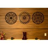 Trio Quadros Mandalas Decorativo Para Parede Pintados