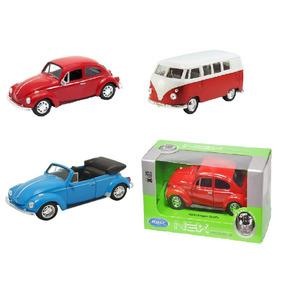 Miniaturas Carros 1:34 Volkswagen 2 Fusca + Kombi Welly