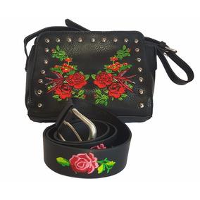 Cartera Y Cinturon Negro Flores Rosa Moda 2017