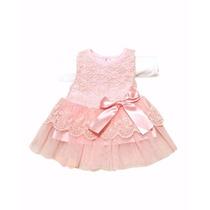 Vestido Infantil Criança Bebê Festa Aniversário Tule E Renda
