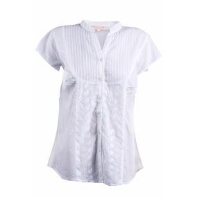 Blusa Blanca Mao Manga Corta. Talles S Al Xl