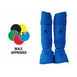 Protetor De Canela/pé adidas Karatê Wkf Azul- Envio Imediato